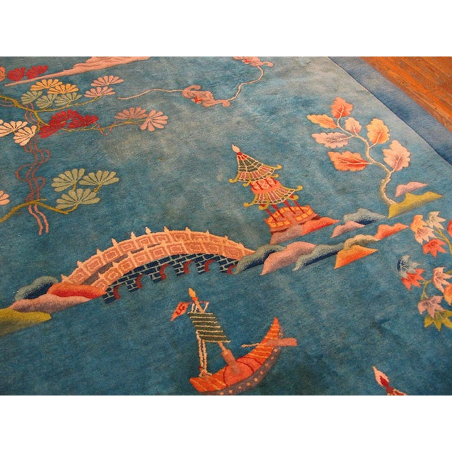 """1920s 1920s Antique Chinese Art Deco Rug- 9'0"""" X 11'9"""" For Sale - Image 5 of 6"""