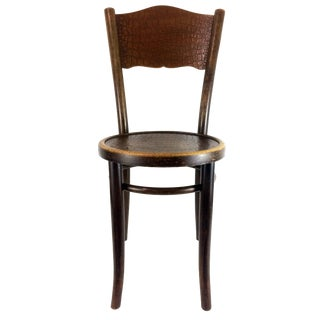 Art Deco Thonet Steam Pressed Crocodile Embossed Bentwood Cafe Chair