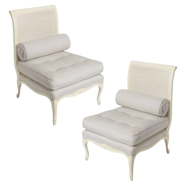1940s Louis XV Style Painted White Slipper Chairs - a Pair For Sale