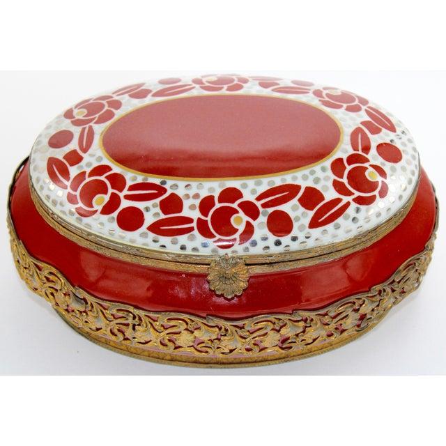 Extra Large Porcelain French Hinged Jewelry Box For Sale - Image 6 of 7