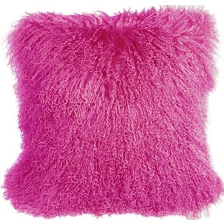 Mongolian Sheepskin Hot Pink 18x18 Pillow For Sale