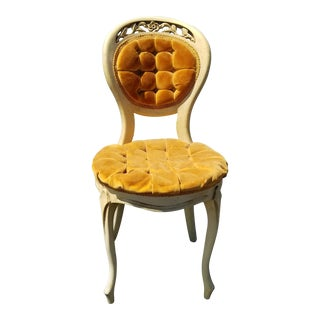 Vintage French Provincial Gold Tufted Accent Chair ~ Vanity Chair