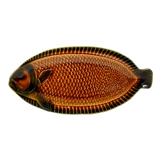 Sarreguemines French Majolica Whole Fish Serving Platter For Sale