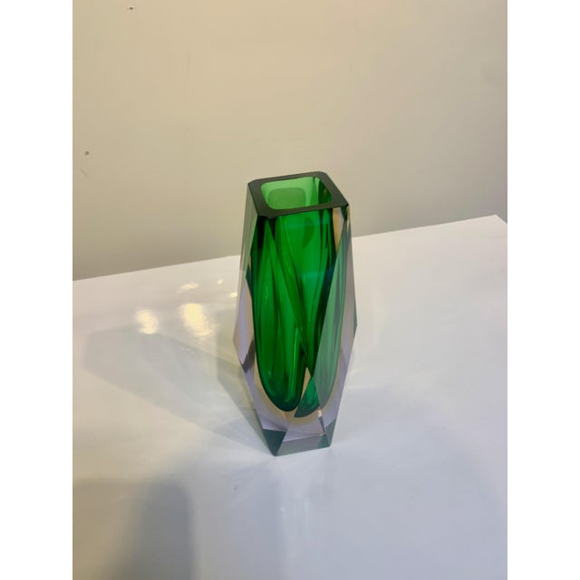 Mid Century Murano Green Faceted Sommerso Vase by Flavio Poli For Sale In Los Angeles - Image 6 of 8