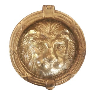 Traditional Brass Lionhead Door Knocker For Sale