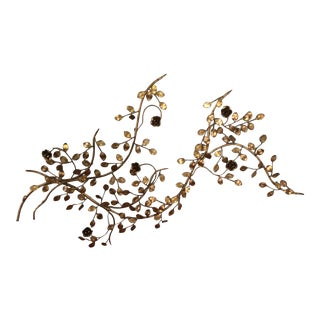 Large Vintage Italian Gold Gilt Metal Floral Wall Piece For Sale