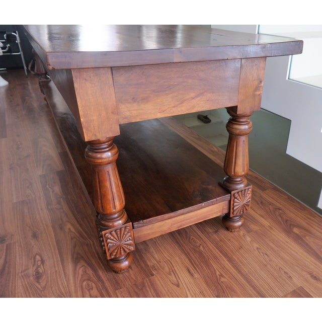 Large 19th Century Spanish Refectory Walnut Farm Table or Console For Sale In Miami - Image 6 of 11