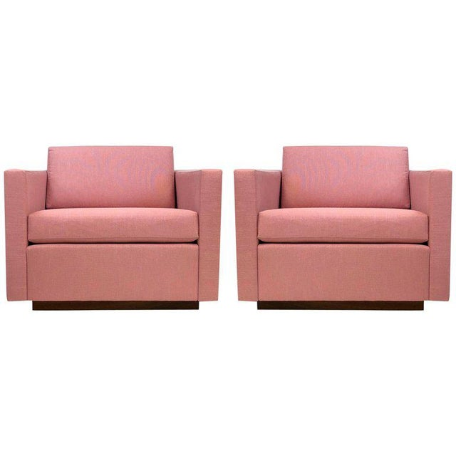 1960s Pair of Harvey Probber Cube Lounge Chairs on Walnut Plinth Bases For Sale - Image 5 of 5