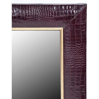 Bordeaux Classic Crocodile Leather Framed Mirror Preview