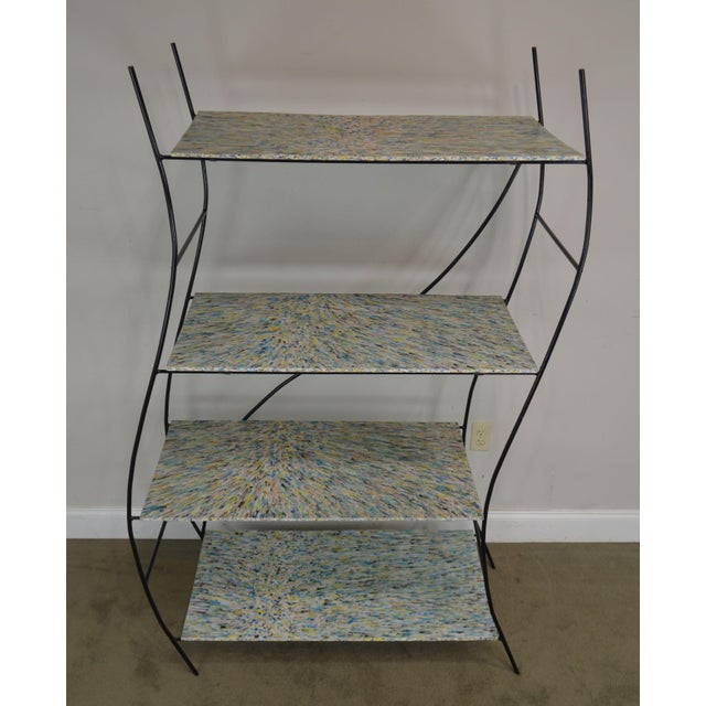 Whimsical Mid Century Modern Iron Etagere Display Rack For Sale - Image 10 of 12