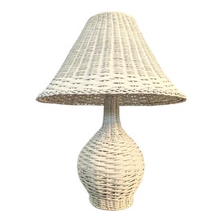 Vintage 1970s Whitewash Wicker Table Lamp For Sale