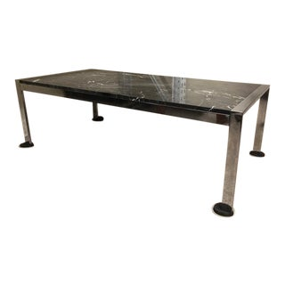 1960s Barcelona Style Art Deco Marble Top Coffee Table For Sale