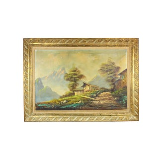 Vintage Large Oil Painting, Mountainous Landscape For Sale