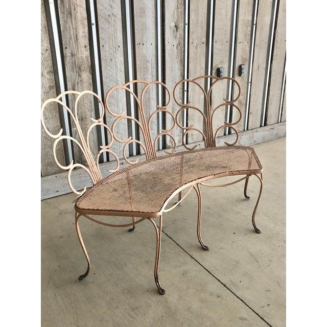 "Midcentury French decorative garden bench. Seat H 18"""