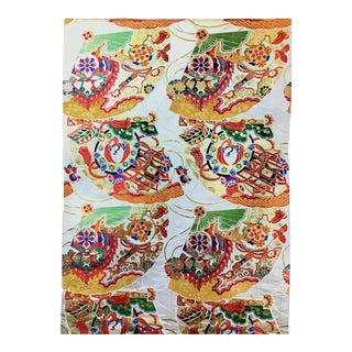 Vintage Pure Silk Jacquard Woven Fabric for Japanese Kimono For Sale