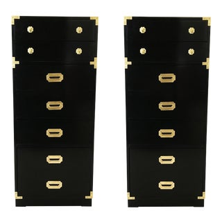 Pair of Black Lacquered Campaign Chests of Drawers For Sale