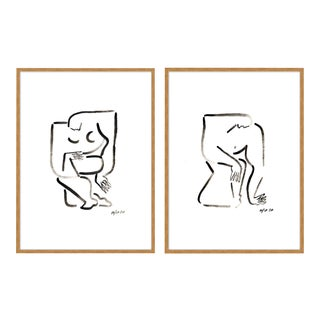 Woman & Man by Sia Dzahn in Gold Framed paper, XS Art Print For Sale