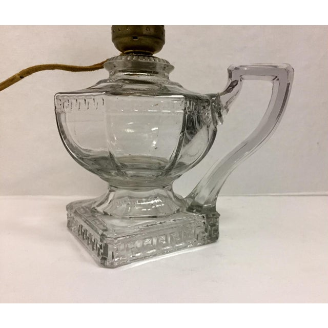 Shabby Chic Greek Key Pressed Glass Electrified Oil Lamp For Sale - Image 3 of 9