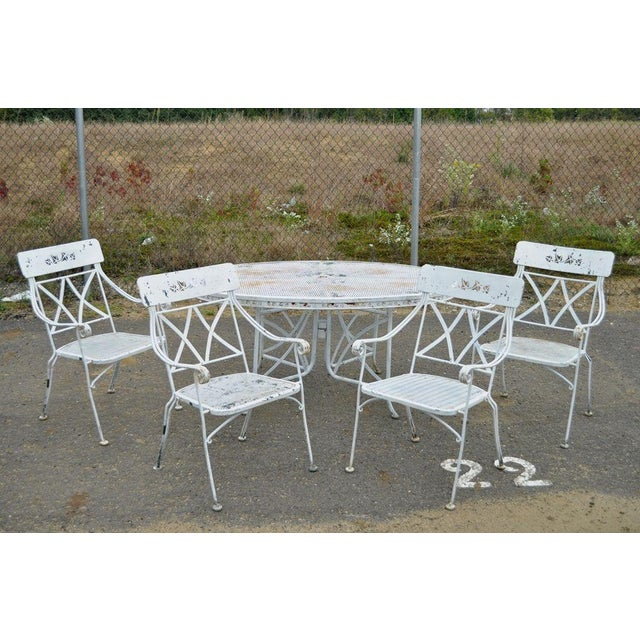 Mid-Century Modern Vintage Hollywood Regency Wrought Iron Dining Set Chairs Table Salterini Style For Sale - Image 3 of 11