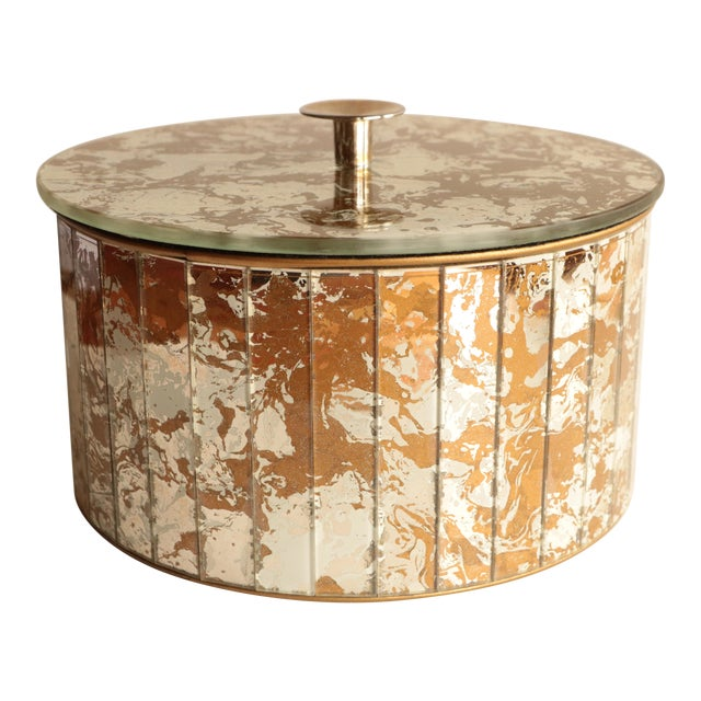 Marbled Golden Swirl Mirrored Box For Sale