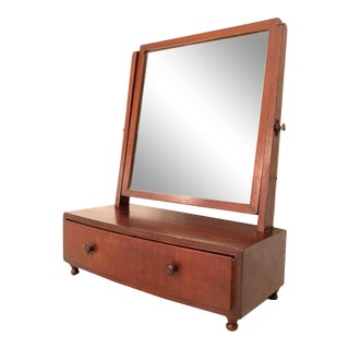 1900s Arts and Crafts British Desktop Vanity Mirror With Hidden Drawer For Sale