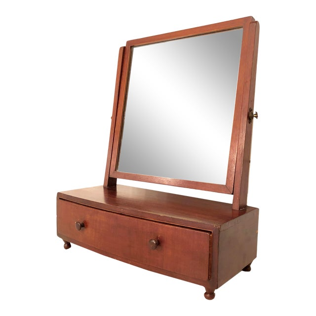 1900s Arts and Crafts British Desktop Vanity Mirror With Hidden Drawer For Sale