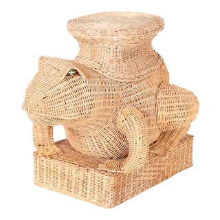 Midcentury Wicker Frog Stand or Seat For Sale
