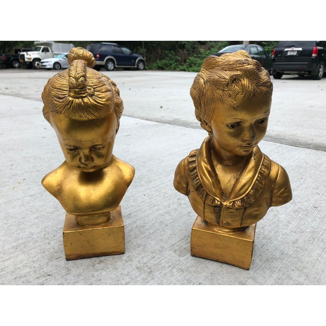 Mid 20th Century Boy & Girl Gold Gilt Busts - a Pair For Sale - Image 10 of 10