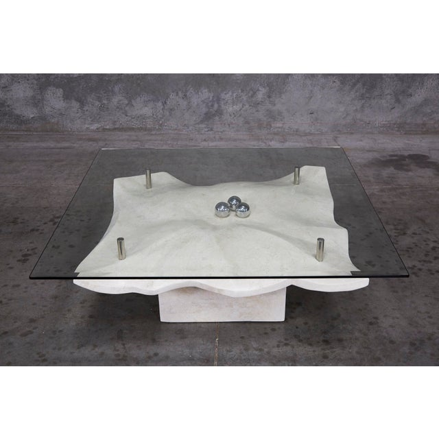 """Contemporary 1990s Post-Modern Tessellated Stone """"Chiseled"""" Cocktail Table For Sale - Image 3 of 13"""