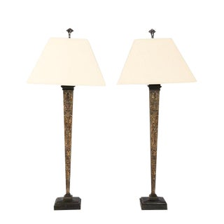 Baroque Architectural Obelisk Table Lamps - A Pair