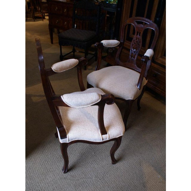 A nice pair of late 19th Century Italian fruitwood armchairs. Condition: Just tightened, polished and reupholstered...