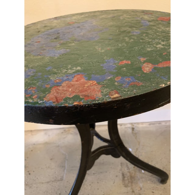 1940s French Circular Cast Iron Cafe Table For Sale - Image 4 of 7