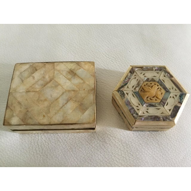 Mother-of-Pearl & Capiz Inlaid Boxes - A Pair For Sale In Miami - Image 6 of 6