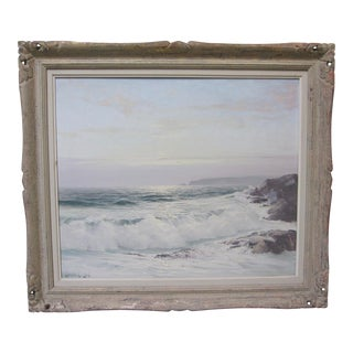 Leonard Lane Vintage Original Nova Scotia Canada Seascape Sunset Signed Oil For Sale