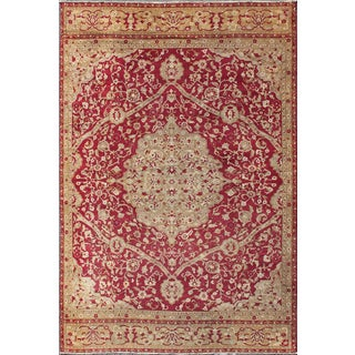 Antique Amritsar/ Agra Carpet With Floral Design in Tones of Red, Taupe and Light Green For Sale