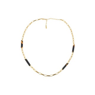 Vintage Napier Gold Link and Tortoise Shell Necklace For Sale