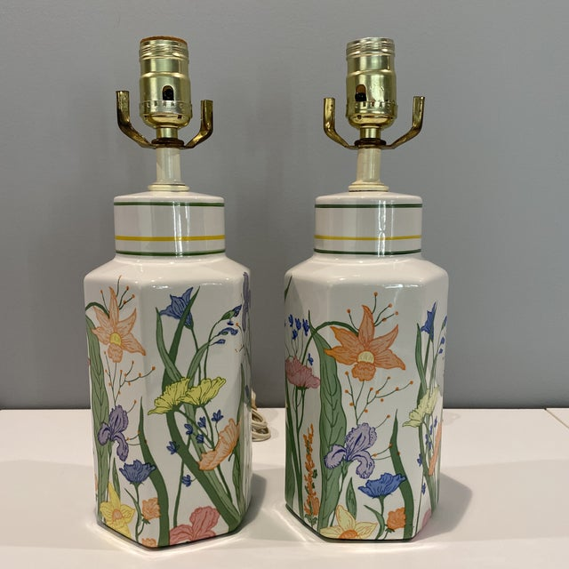 Vintage Porcelain Floral Table Lamps - a Pair For Sale - Image 13 of 13