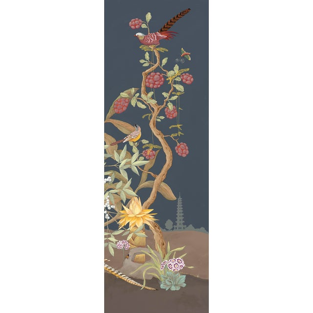 """Allison Cosmos """"Pheasants and Forest"""" Triptych Chinoiserie Painting by Allison Cosmos For Sale - Image 4 of 7"""