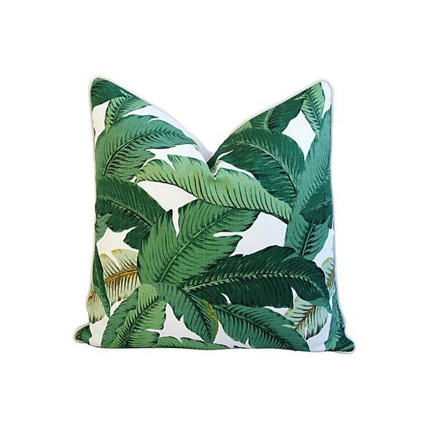 Large Tropical Iconic Banana Leaf Feather/Down Pillows - a Pair - Image 3 of 7