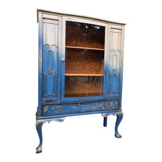 1940s Vintage Boho Chic China Cabinet For Sale