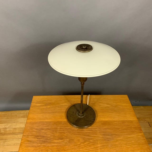 Lyfa 1930s Lyfa of Denmark Table Lamp, Glass, Brass & Lacquered Metal For Sale - Image 4 of 10