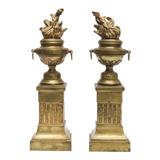 19th C. Brass Flame Torch Bookends - A Pair