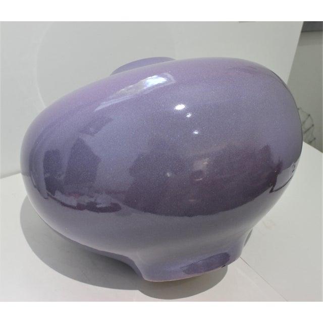 Vintage Artisan Vase Glazed Earthenware Lavender Coloration For Sale - Image 10 of 11