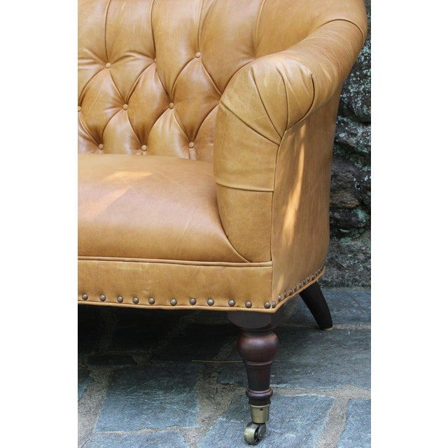 Animal Skin Edwardian Style Buttoned Back Leather Sofa For Sale - Image 7 of 8