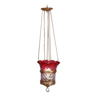 Antique Victorian Cranberry Ombre Glass and Brass Hanging Hall Light, circa 1890 For Sale