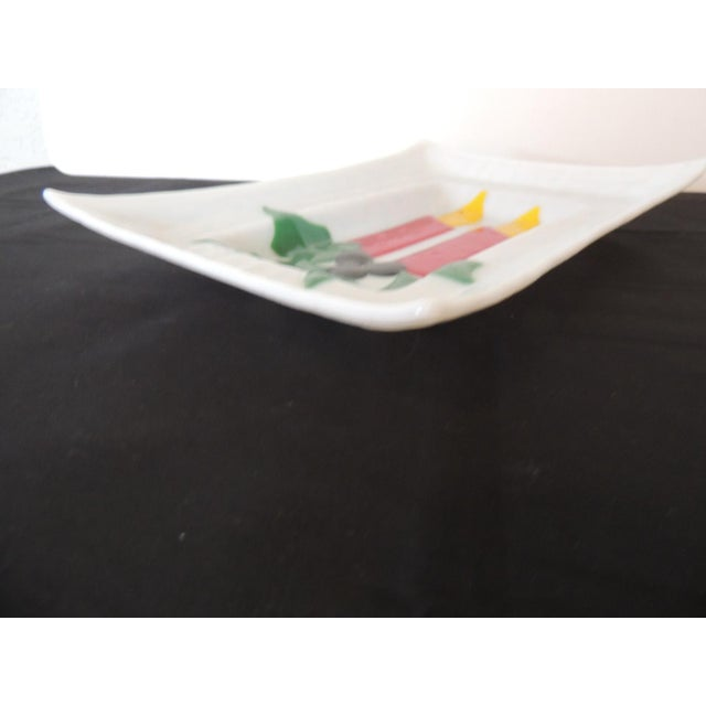 Vintage Holiday Milk Glass Serving Tray With Candles and Holly For Sale - Image 4 of 5
