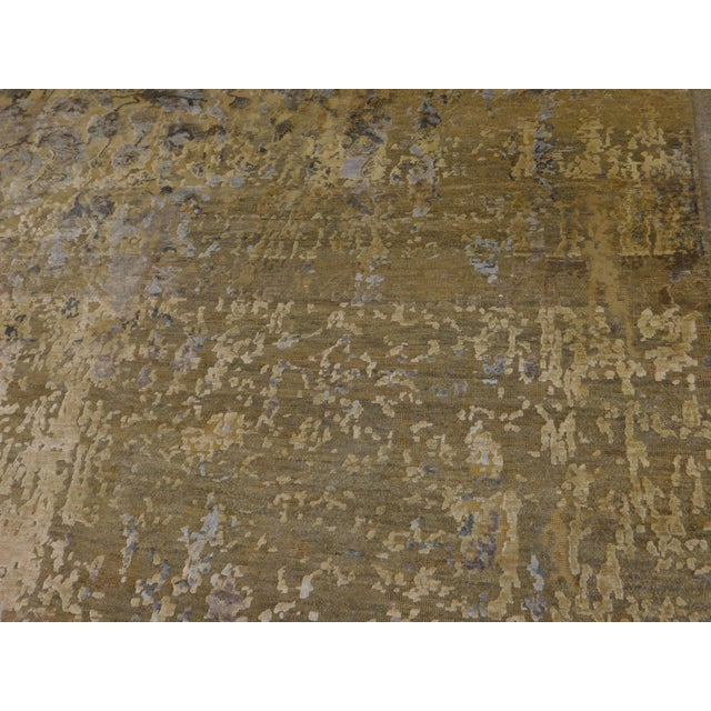 Silk Hand Knotted Indian Wool and Silk Rug - 9'x 12' For Sale - Image 7 of 12