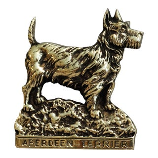 English Brass Aberdeen Terrier Dog Door Knocker