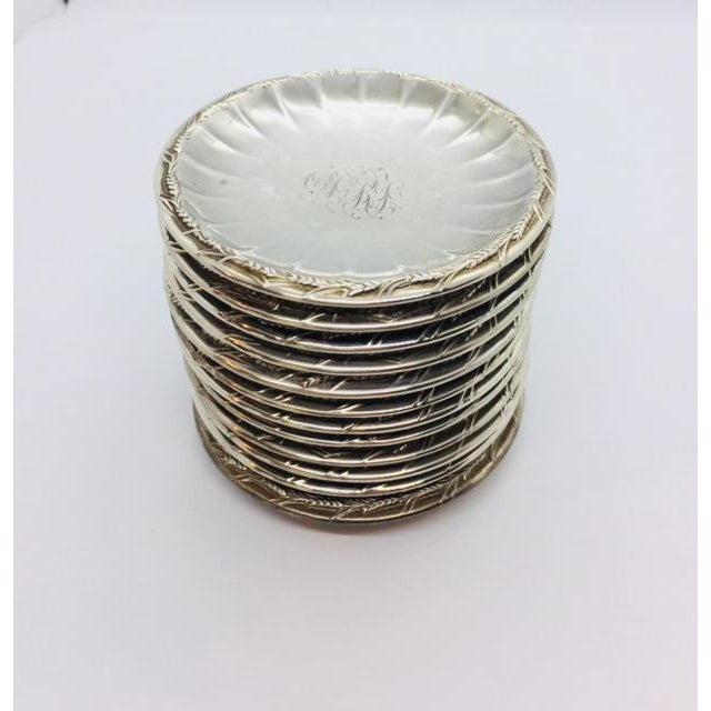Late 19th Century Gorham Sterling Butter Pats Coasters- Set of 12 For Sale - Image 9 of 11