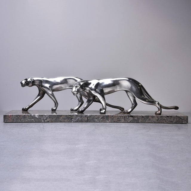 """Art Deco Art Deco """"Two Panthers"""" Statue For Sale - Image 3 of 9"""
